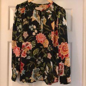 LOFT floral print long sleeve blouse S